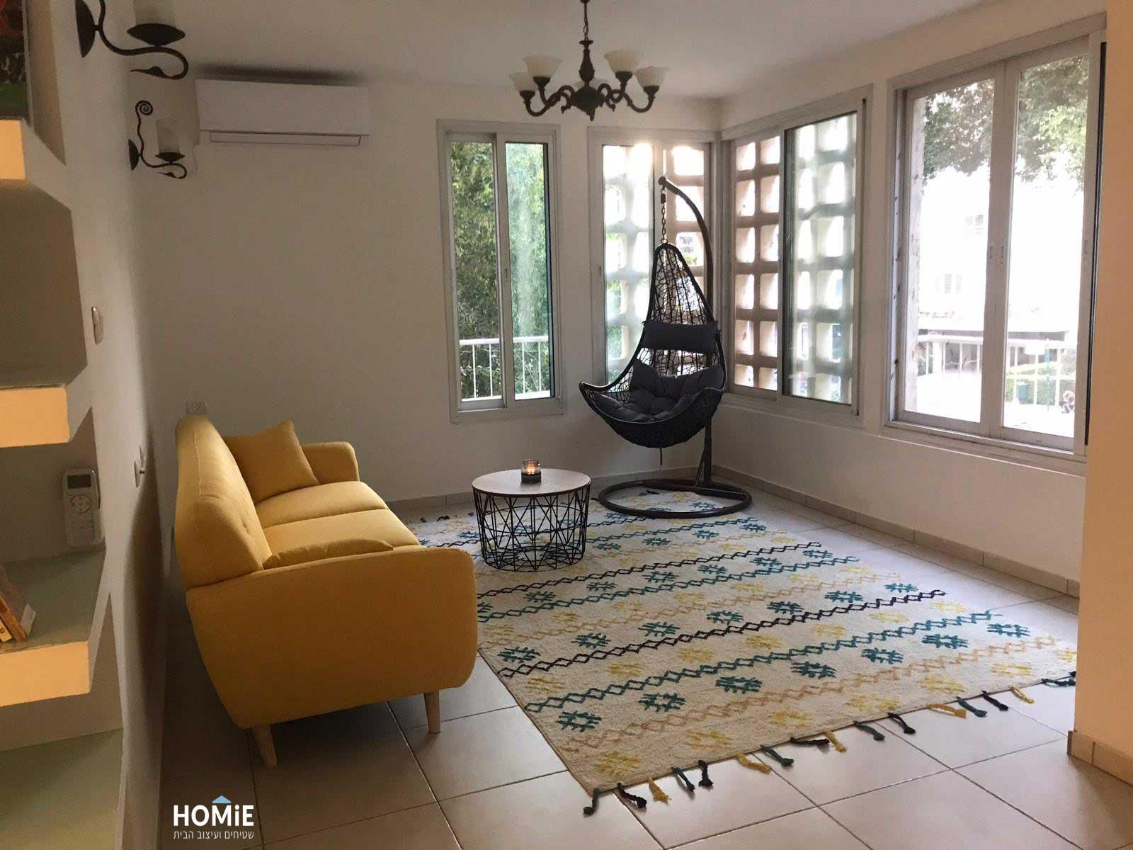 שטיח כותנה גיאומטרי עבודת יד לסלון דגם מיאנמר עשוי 100% כותנה