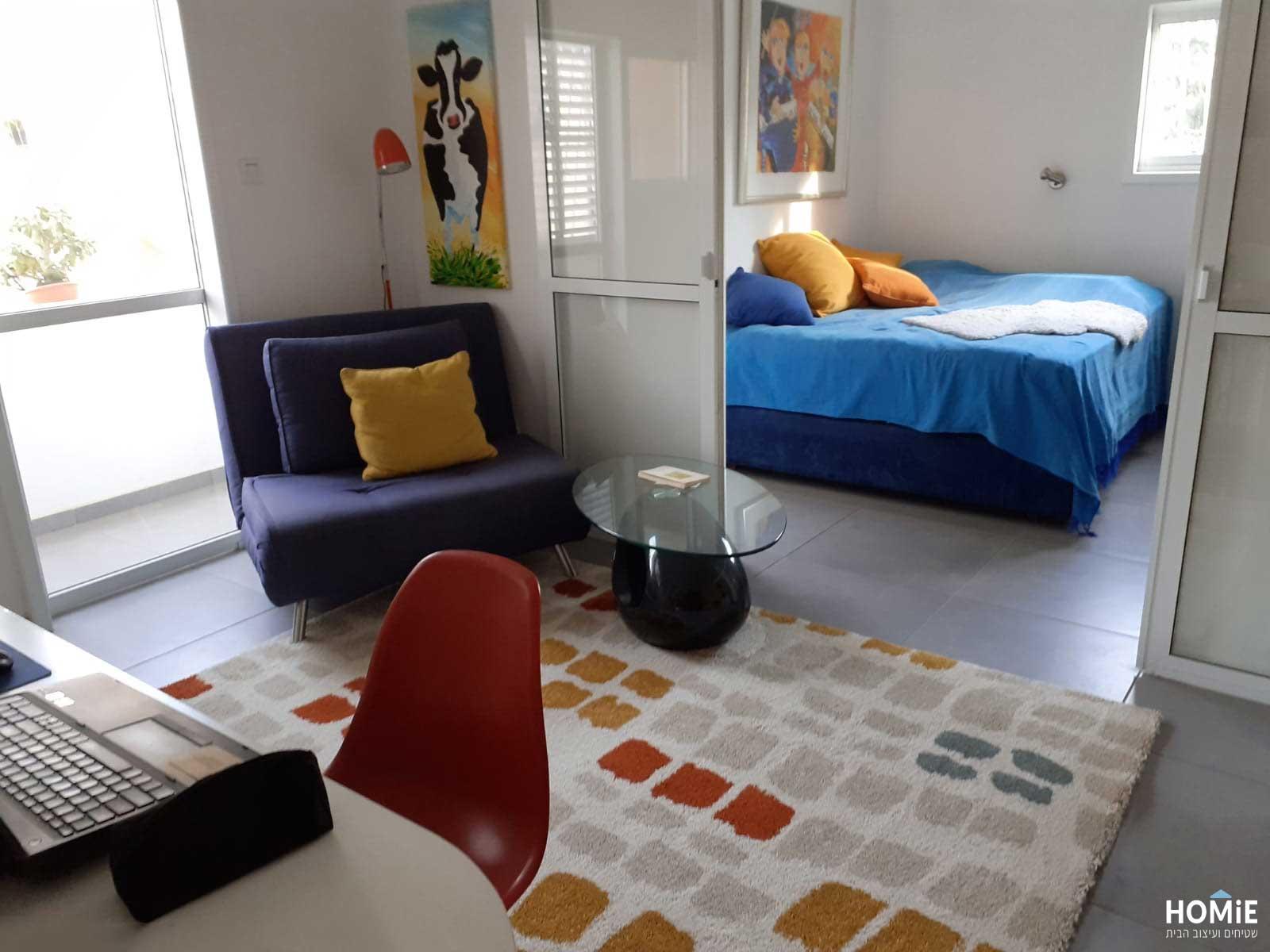שטיח גיאומטרי מרובעים מודרני צבעוני