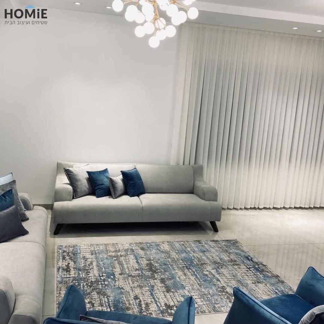 שטיח אבסטרקטי מודרני יוקרתי לסלון דגם לוקאס צבע כחול, תכלת וטאופ (אפור-חום)