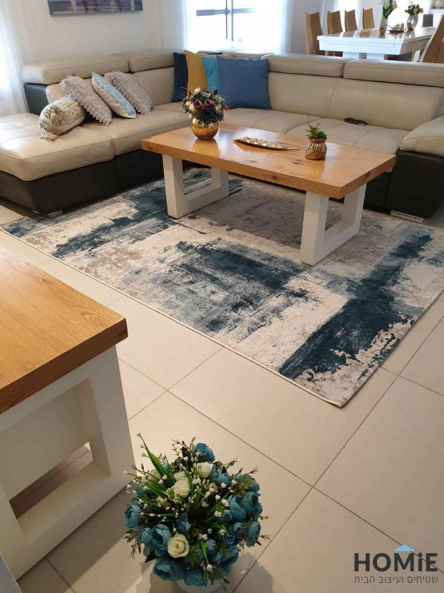 שטיח סלון מודרני אבסטרקטי כחול תכלת