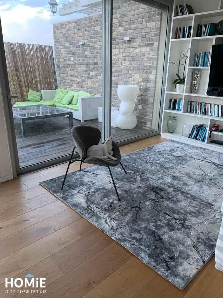 שטיח סלון אבסטרקטי ויסקוזה יוקרתי אפור שחור