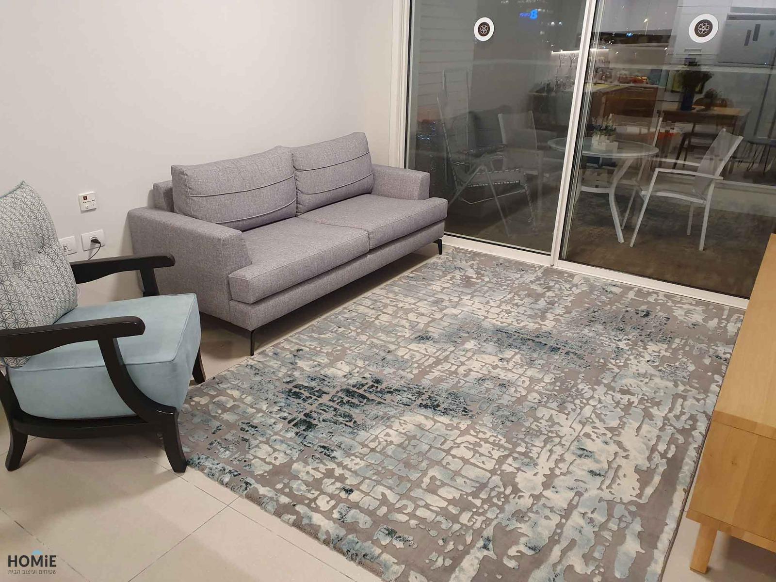 שטיח לסלון טורקיז אבסטרקטי