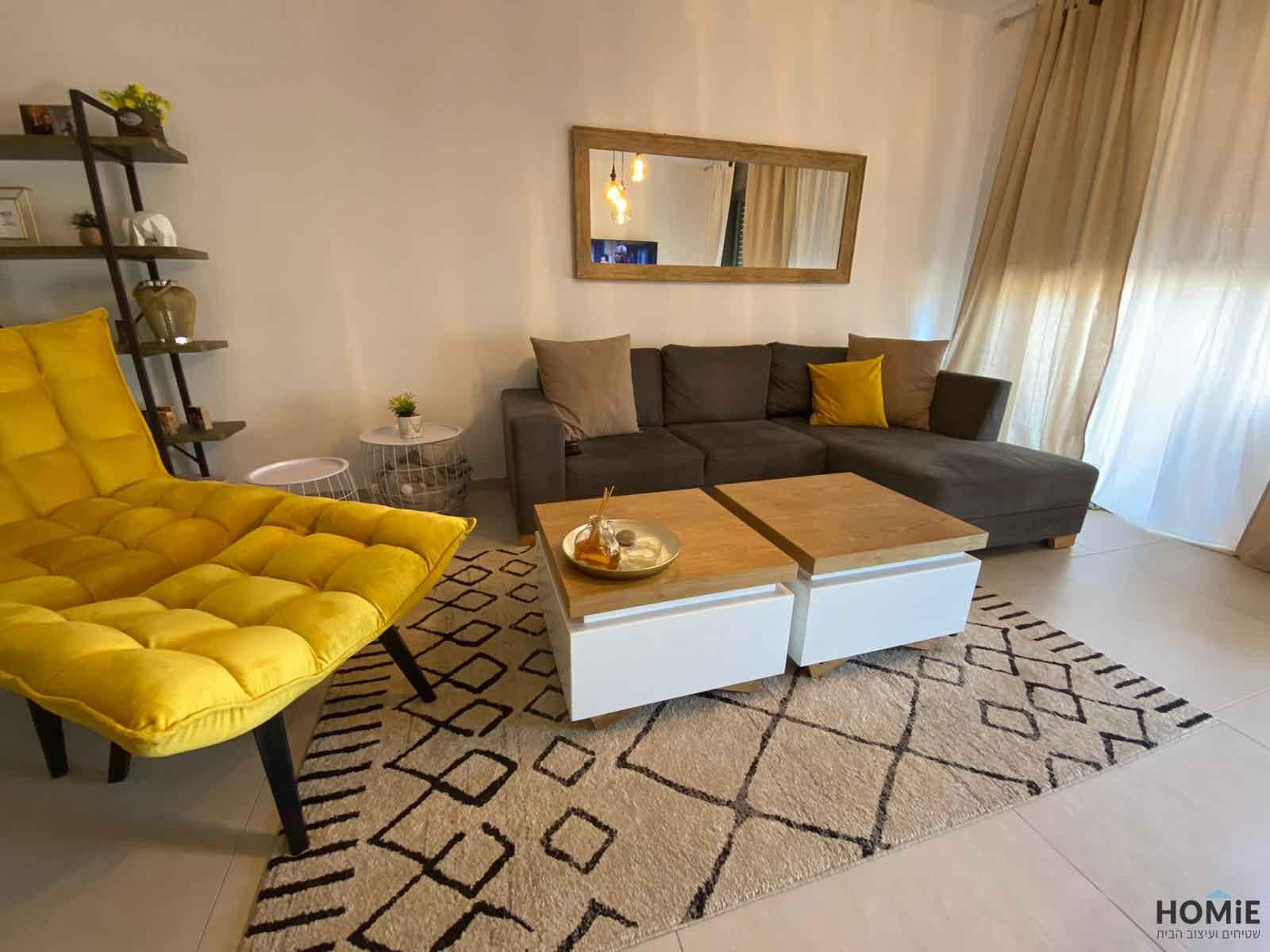 שטיח גיאומטרי מודרני חום בז' מעויינים לסלון