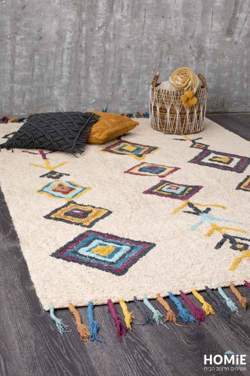 שטיח סלון גיאומטרי מעויינים צבעוני כותנה עבודת יד