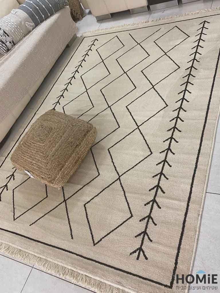 שטיח גיאומטרי מודרני שבטי לסלון מעויינים וחיצים דגם ונקובר