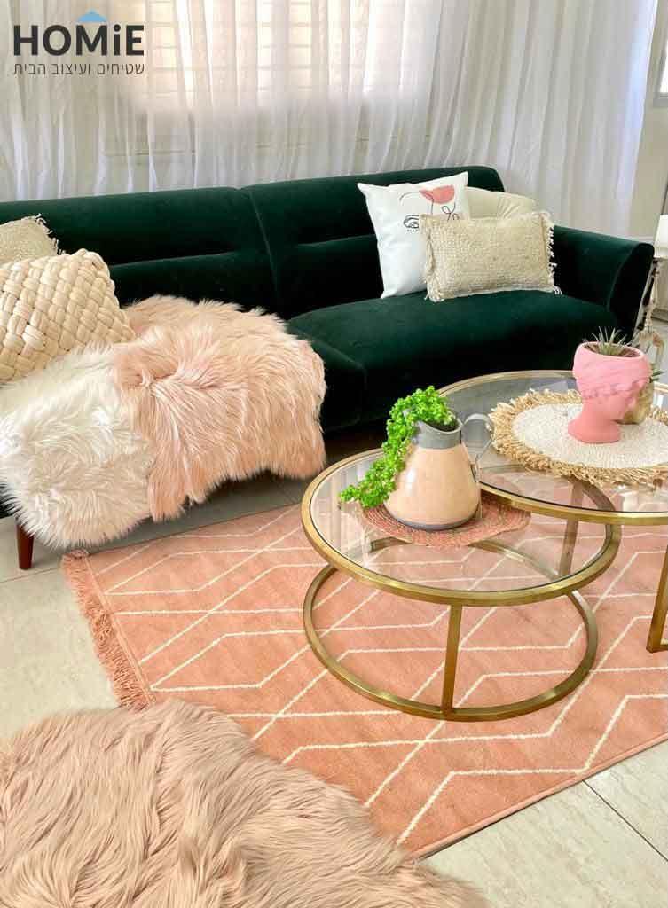 שטיח שאגי כותנה גיאומטרי מעויינים לסלון בצבע ורוד