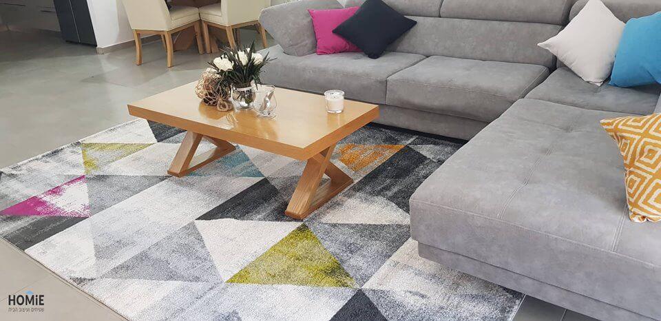 שטיח גיאומטרי בלגי מולטי צבעוני משולשים