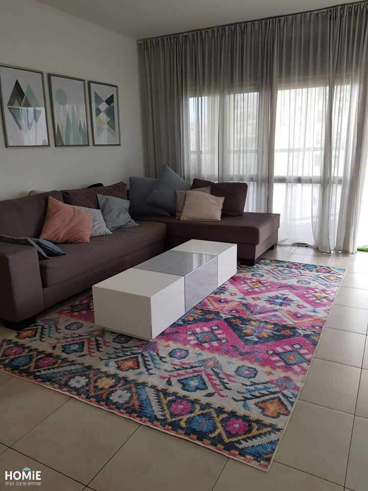 שטיח סלון וינטג' גיאומטרי כותנה שבטי צבעוני