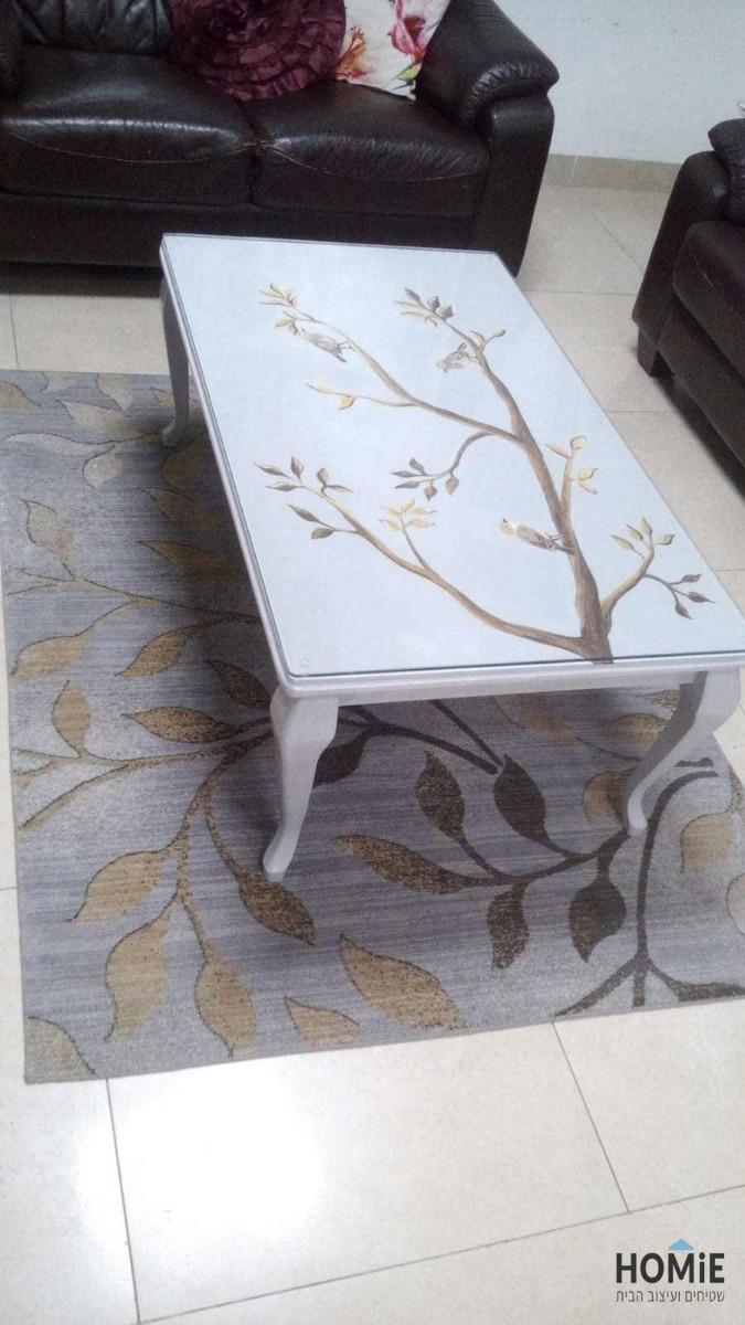שטיח מודרני לסלון עלים בצבע אפור