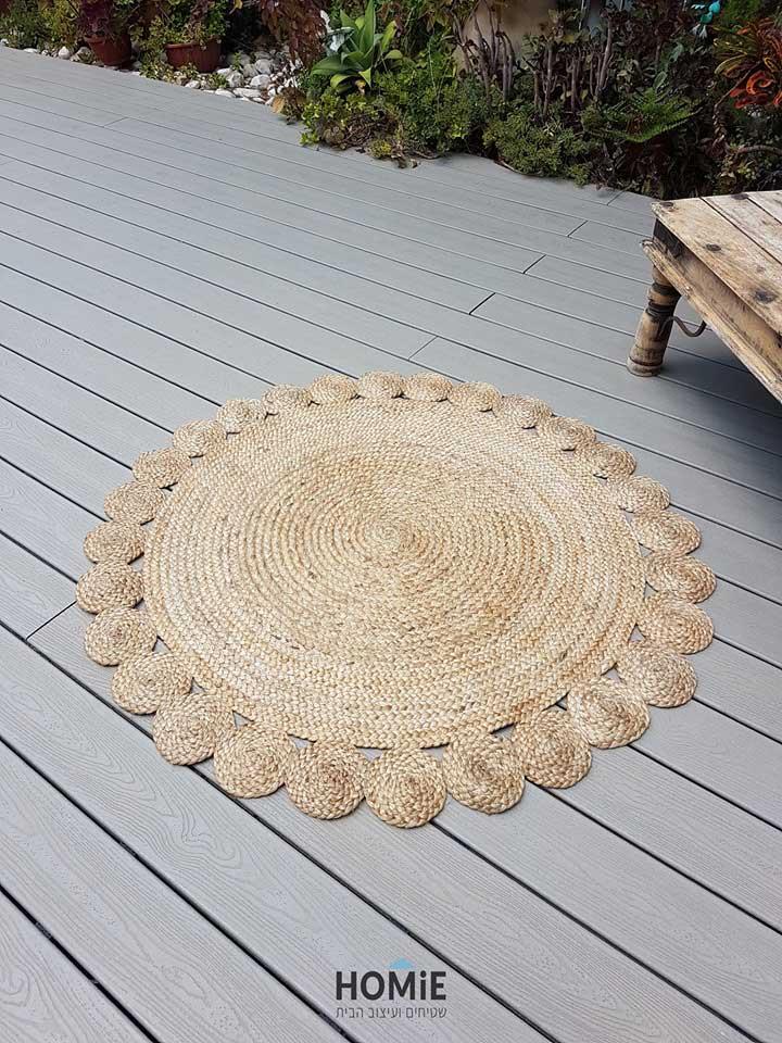 שטיח חבל טבעי עגול עבודת יד דקורטיבי דגם סאו פאולו