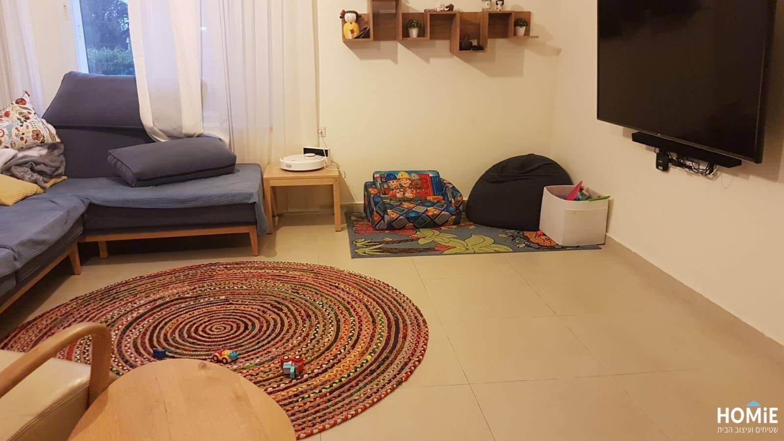 שטיח חבל עגול צבעוני עבודת יד