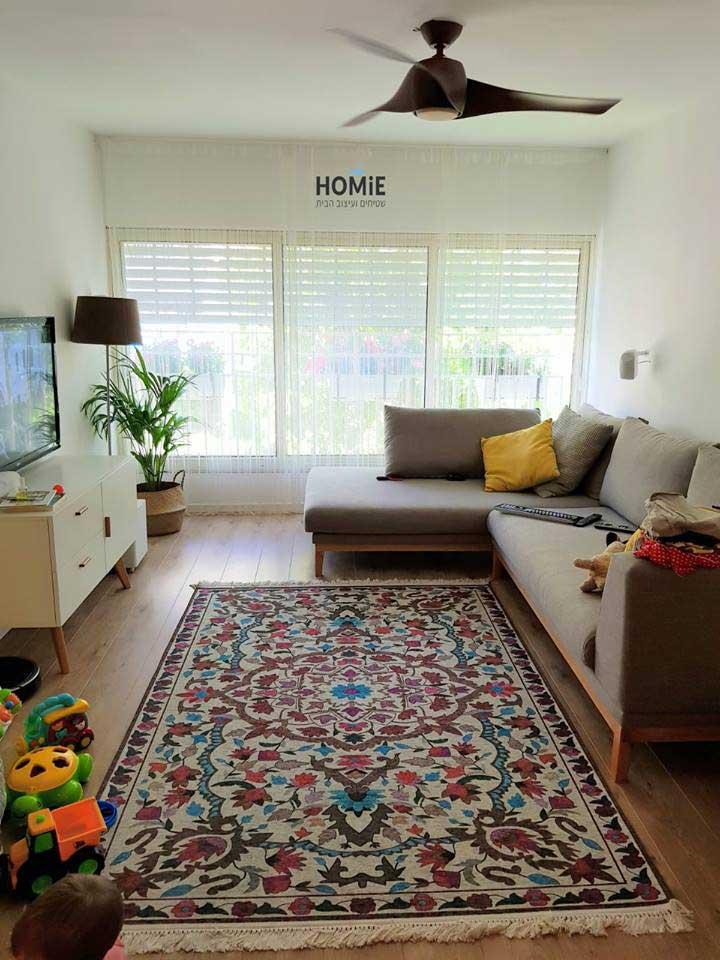 שטיח סמרקנד צבעוני ווילונות חוטים לבנים