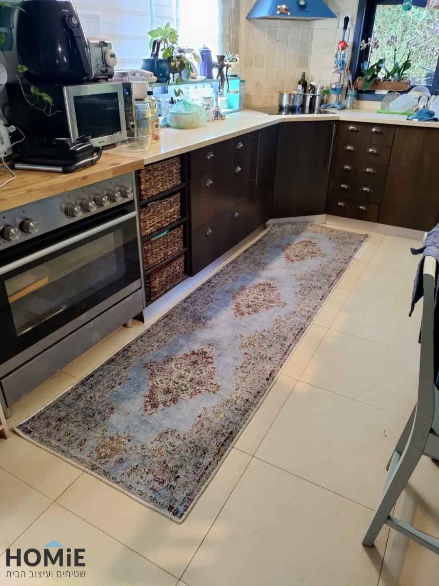 שטיח מטבח ארוך וינטג' מדליון תכלת